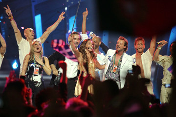 Greece's Helena Paparizou (C), celebrates with her team members after winning the Eurovision ...