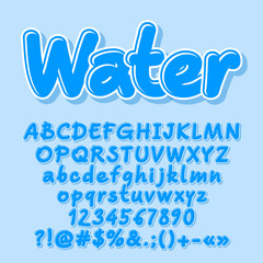 Blue vector letters, numbers, symbols, Font contains graphic style