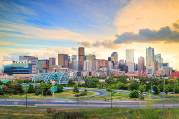 Acrylic Prints United States Panorama of Denver skyline at twilight.
