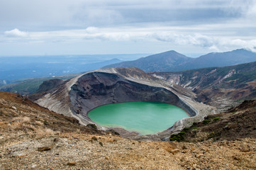 Panorama of Okama Crater in Zao, Honshu, Japan