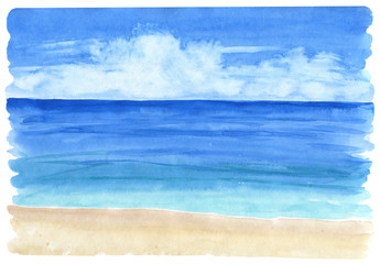 Watercolor seascape background. Sea views with sand beach .