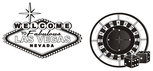 Las vegas, casino, America, USA, illustration, cartoon, nevada, money, city, symbol, city, poker, city of sins, fabulous, Roulette, dice,  signboard,