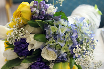 Wedding Bouquet of White Roses and Other Mixed Flowers
