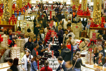 Crowds of shoppers in Macy's of New York City.