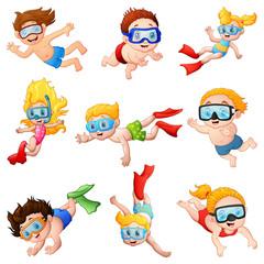 Little divers cartoon set