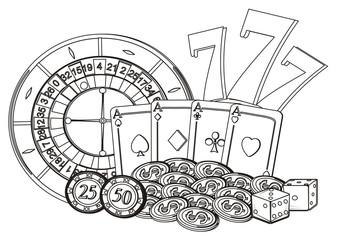 Las vegas, casino, America, USA, illustration, cartoon, nevada, money, city, symbol, city, poker, city of sins, fabulous, 777, Roulette, cards, dice, chips, money,