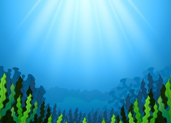 Underwater scene with seaweed