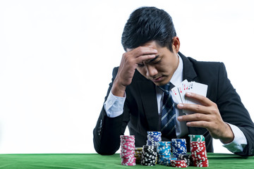 The young gambler used a hand off the face with the stress