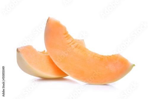 slice of honeydew melon sunlady isolated on white background
