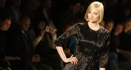 """A model shows a creation the label  """"30 paar Haende"""" during the Berlin Fashion Week in Berlin"""