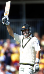 AUSTRALIA'S MARK WAUGH CELEBRATES SCORING A CENTURY DURING THE FIFTHASHES TEST AT THE OVAL.