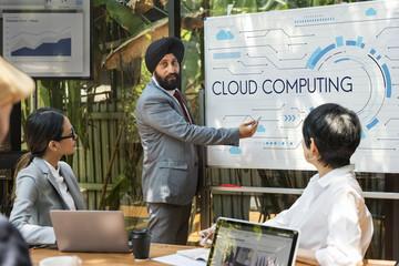 Cloud computing technology hub graphic