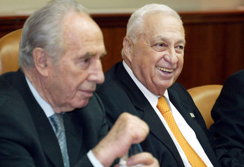 ISRAELI PREMIER ARIEL SHARON AND FOREIGN MINISTER SHIMON PERES.