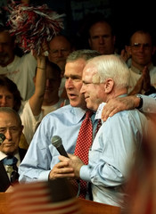 BUSH AND MCCAIN ON STAGE AT FLORIDA CAMPAIGN RALLY.