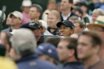 Tiger Woods tees off during Masters tournament second round.