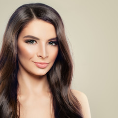 Young Smiling Model Woman with Healthy Skin and Hair. Cute Female Face, Beauty Portrait