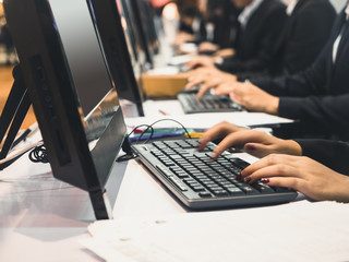 Hand type on keyboard Computer Online Business People Working