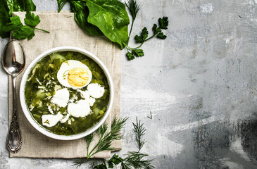Traditional Russian soup with sorrel, meat and eggs, called green borsch, top view