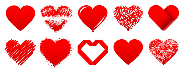 Set 10 Red Hearts Icons