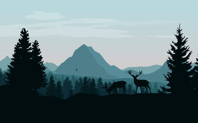 Landscape with blue mountains, forest and silhouettes of trees and wild deers - vector illustration