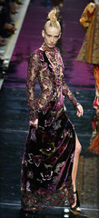 A model presents this creation by French designer Emanuel Ungaro during his Autumn-Winter 2002-2003 ..