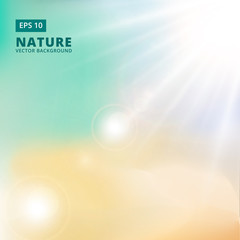 Sparkling sunlight and flares of light from the sides on a green background of nature. vector background