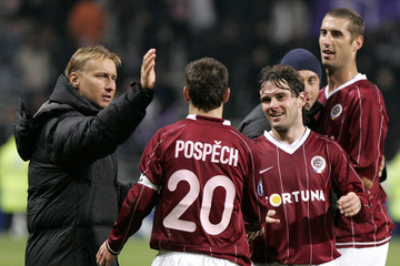 Sparta Prague players celebrate victory against Toulouse in UEFA Cup match in Toulouse