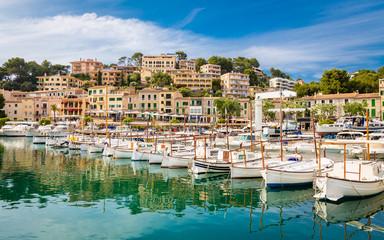 View of Port de Soller, bay of Majorca island, Spain Medierranean Sea.