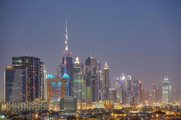 Dubai skyline at night, United Arab Emirates