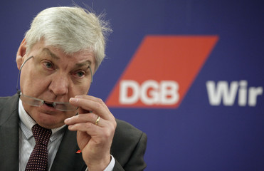 DGB head Sommer addresses a news conference in Berlin