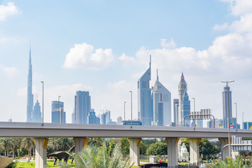 Dubai cityscape, view from Zabeel Park, United Arab Emirates