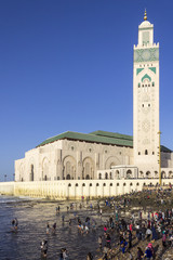 View on seafront of Grande Mosque Hassan II in Casablanca.