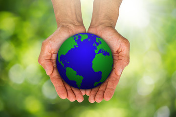 Man's hands holding growing green sprouts from globe on blurred green bokeh background, environment concept