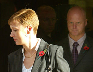 PARENTS OF MURDERED BRITISH SCHOOLGIRL HOLLY WELLS LEAVE OLD BAILEY INLONDON.