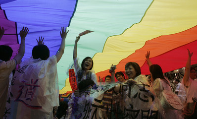 A rainbow flag is held up by homosexuals and their supporters during a protest march to mark the International Day Against Homophobia in Hong Kong