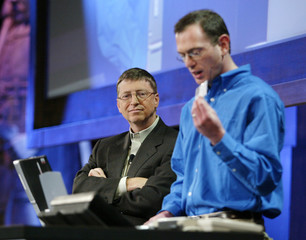 MICROSOFT CEO GATES GIVES DEMONSTRATION AT SECURITY CONFERENCE.