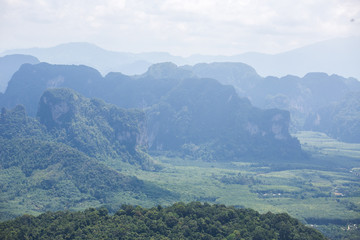 Landscape at the Krabi province,Thailand,view from Nong Thale Peak