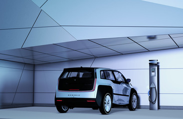 Elektroauto der Kompaktklasse vor einer futuristischen Kulisse