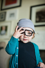 Boy wearing glasses