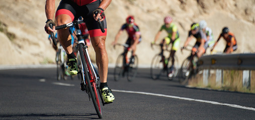 Photo sur Aluminium Cyclisme Cycling competition,cyclist athletes riding a race at high speed