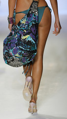 Model shows handbag from the collection of Italian designer Miss Bikini during Mercedes-Benz Fashion Week show in Miami Beach