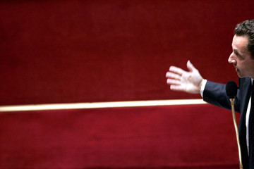 French Interior Minister Sarkozy delivers a speech at the National Assembly in Paris
