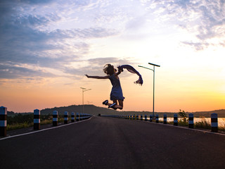 woman jumping ,feeling free