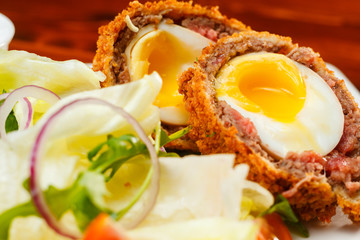 English food, Scotch eggs served with lettuce