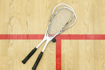 squash rackets and ball top view