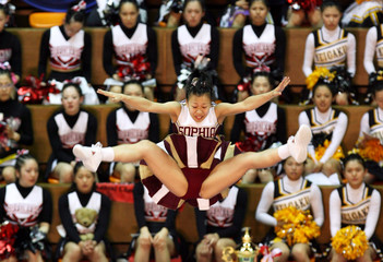Lollipoppers team of Japan compete at the Cheerleading Asia International Open Championships in Tokyo