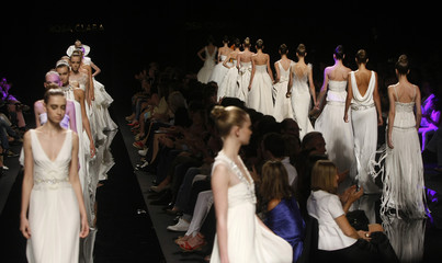 A model presents a creation from the Rosa Clara collection at the  Barcelona Bridal Week fashion show in Barcelona