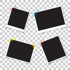 Set retro photo frames with shadow on adhesive sticky tape scotch.