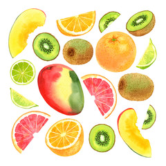 Watercolor fruit set with mango, kiwi, lime, grapefruit and orange