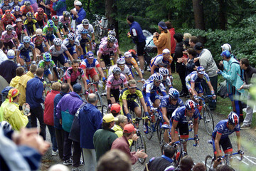 THE PACK OF RIDERS IN THE SEVENTH STAGE OF THE TOUR DE FRANCE CYCLINGRACE.